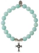 EvaDane Natural Semi Precious Amazonite Gemstone Tibetan Bead Cross Charm Stretch Bracelet