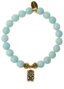 EvaDane Natural Semi Precious Amazonite Gemstone Rope Bead Lotus Charm Stretch Bracelet