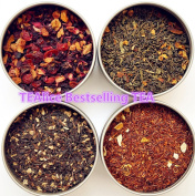 TEAlice Leaves Tea Sampler Gift Set 4 Bestselling Cans Approximately 20 Servings of Tea Per Can