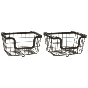 Gourmet Basics by Mikasa General Wire Storage Basket Carbon Steel Antique (Set of 2), Black