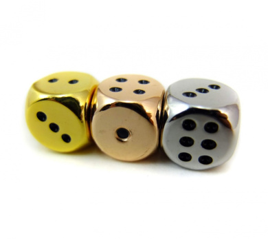 Set of Three Dice Gold, Rose Gold, and Nickel Coloured