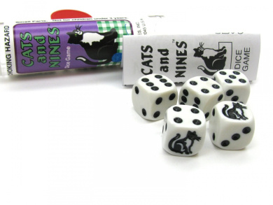 Cats And Nines Dice Game 5 Dice Set with Travel Tube and Instructions