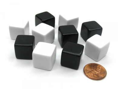 Set of 10 D6 16mm Blank Opaque Inverse Dice - 5 Black and 5 White