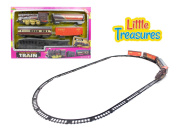 Locomotive Train set toy with train carts, engine, and rail tracks for your kid to assemble
