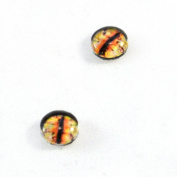 8mm Dragon Glass Eyes Pair of Yellow and Orange Fantasy Crafting Supply Flatback Cabochons for Doll Taxidermy or Jewellery Making