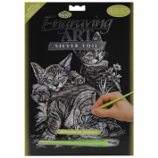 Silver Foil Engraving Art Kit 20cm x 25cm -Cat & Kittens