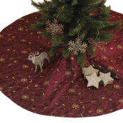 Embroidered and Sequined Holiday Christmas Tree Skirt, Burgundy, 140cm Round