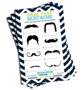 Name That Moustache Game (50-sheets) - Baby Shower Game
