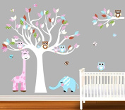 Nursery Owl, Elephant, Giraffe, Tree, Bird Wall Decal, Nursery Tree, Bird, Owl, XL Wall Sticker