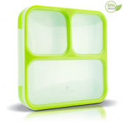 Munch Box Sleek Edition (Green) Ultra-Slim Tray Style Leakproof 3-Compartment Bento Lunch Box with Air Tight Seal - Prevents Contents from Mixing and Spilling - Microwavable - Dishwasher Friendly - For Kids & Adults