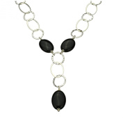 Sterling Silver Black Onyx Stone Large Link Chain Y Necklace 43cm Adjustable