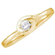 0.10 Carat (ctw) 10K Yellow Gold Round White Diamond Ladies Bridal Solitaire Promise Ring 1/10 CT