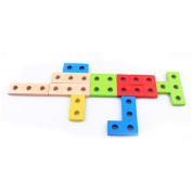 Deercon Colourful Geometric DIY Building Blocks Assembly Kids Puzzle Educational Wooden Toys