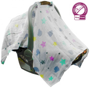 Baby Car Seat Cover from Mum n Me; 100% Cotton Muslin, Lightweight & Breathable, Adorable Design, Button Snaps, Universal Fit, Perfect Baby Shower Gift