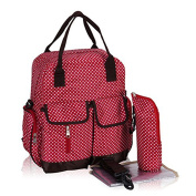 Fieans 3 in 1 Large Capacity Single Shoulder Backpack Nappy Bags Baby Bags Travel Backpack Baby Care Product Tote Bags with Baby Change pad and Bottle bags-Red Polka Dot