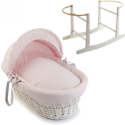 Pink Waffle White Wicker Moses Basket With White Rocking Stand