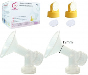 One-piece Breastshields XS 19mm (Replace Medela Personalfit Connector and Breastshield) with 2 Valves and 4 Membranes for Medela Pump in Style, Lactina, Symphony, and Swing Breastpumps. Can Be Used with Simple Wishes. Can Be Sanitised with Medela Quick ..