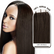 Melodylocks 60cm Tape in Remy Human Hair Extensions 20 Pieces(pcs), 30g, Straight #2 Dark Brown