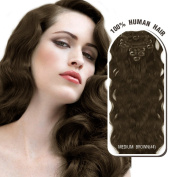 Melodylocks 50cm Clip In/on Remy Human Hair Extensions 7 Pieces(pcs), 70g, Wavy #4 Medium Brown