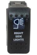 """SUNDELY® """"RIGHT SIDE LIGHTS"""" 12V 24V ON/OFF Rocker Switch with Blue LED Backlit Carling ARB Narva Style"""