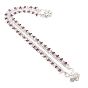 Anklet Purple-colour Stone Kundan AD Jade Bollywood . New Designer Silve...
