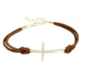 Brown Leather Bracelet/Bangle Cross Chain Bracelet Gold Charm Bracelet Necklace Chain Cross from Desido