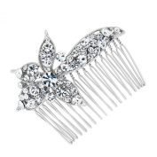 Jon Richard Crystal embellished flower hair comb Silver