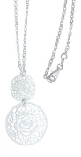 Hobra Sterling Silver Pendant Necklace with Silver Chain Gold and Silver Chain 925 with Rose Pink