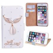 Stayoung Angel Wings Phone Case Water Drop Rhinestone Wallet Card Holder Phone Leather Case Cover for iPhone 6/6s 12cm