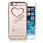 Stayoung Love Heart Bling Rhinestone Phone Case Transparent Soft TPU Gel Cell Phone Cover for iPhone 6/6s 12cm