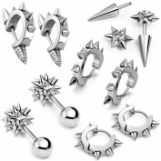 Aroncent 10PCS Men's Gothic Stainless Steel Hoop Spike Punk Earring Plug Piercing Clip Ear Stud Vintage Rivet