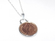 1976 Pendant half pence 40th Birthday plus a Sterling Silver 46cm Chain