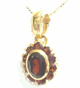 NECKLACE YELLOW GOLD 18KT WITH HANGING CHARM GARNET NATURAL - ANTIQUE STYLE