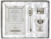 Beautiful Boxed Silver Plated Christening Day Gift Set - 4-Piece, Includes Egg Cup, Spoon, Photo frame, Napkin Ring in Presentation Gift Box.