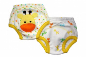 Giraffe Potty Training Pants - PACK OF 2 (Small, 0-1.5 years) Size 9.3-11kg Inner Waterproof Layer, 100% Cotton, Embroidered Detail