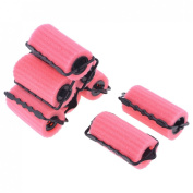 Sourcingmap Sponge Covered Woman Hair Roller Curler Styling, Pink/Black - 8-Piece