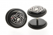 Pair of Black w/white Heart Maze Top Quality Fake Ear Plug Cheater Earrings 10mm
