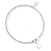 Sterling Silver 'Rice & Noodle' Ball Bead Bracelet with Star Charm