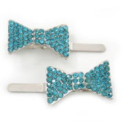 Pair Of Ligth Blue Pave Set. Crystal 'Bow' Magnetic Hair Slides In Rhodium Plating - 40mm Length