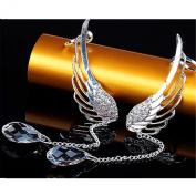 BODYA 2x Angel Wing Silver Crystal rhinestone Tassel Chain Drop Dangle Ear Cuff Stud Clip Earrings