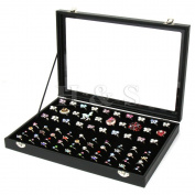 H & S® Glass Lid 100 Ring Jewellery Display Storage Box Tray Case Organiser - Black