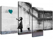 Canvas Wall Art of Banksy Balloon Girl in Teal for your Bedroom - 4220 - Wallfillers®