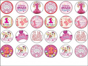 24 Baby Girl 1st First Birthday Edible Wafer Paper Cup Cake Toppers