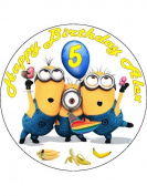 7.5 Despicable Me Minions Edible Icing Birthday Cake Topper