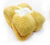 New Large 130 x 180cms Teddy Soft Cuddly Fluffy Yellow Plain Throw Bed / Sofa Throwover Blanket