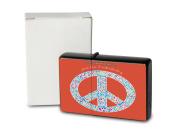 Pocket Vintage Windproof Lighter Brushed Oil Refillable Peace Sign Red