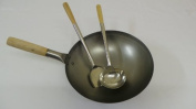 36cm WOK Round Bottom Carbon Steel with Stainless Steel Ladle and Turner