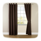 1 x Piar Luxury Faux Silk Fully Lined Ready Made Curtains with Eyelet Ring Top And Matching TieBacks