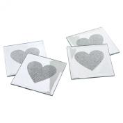 4 x Love Heart Glass Mirror Coasters