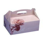 Papstar 18851 Cardboard Pastry Boxes Rectangular 20 x 13 x 9 cm Pink with Handle Pack of 20